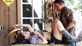 Horney cowgirl is kneeling for giving a blowjob