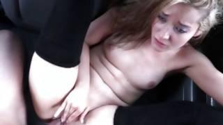 Smiling lady is handjobbing hard cock