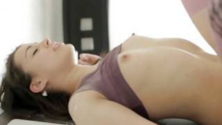 Anal lesson for an adorable brunette with egghead vagina