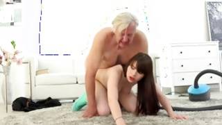 Newbie wench riding mature mans sugar-plum for money