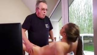 Fuck on table with nice-looking infantile and her matured master