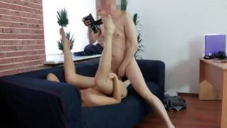 Testing skills in fuck of kinky blonde on a couch