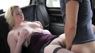 Sensationally hot blondie is slammed in a car